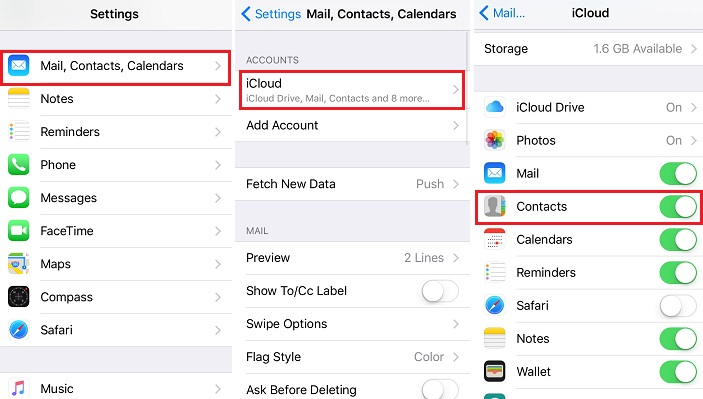 Disable Contacts in iCloud and Turn on again